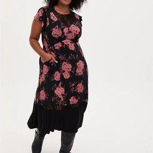 Torrid 1 Black Floral Studio Knit Midi Dress